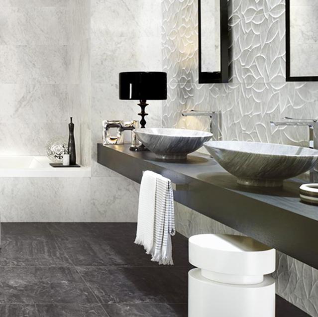 3D obklad, dlažba, marble, imitácia mramoru, black and white, čierna a biela, kúpelňa, umývadlo, vaňa, solid white, gray stone, kameň, graphite