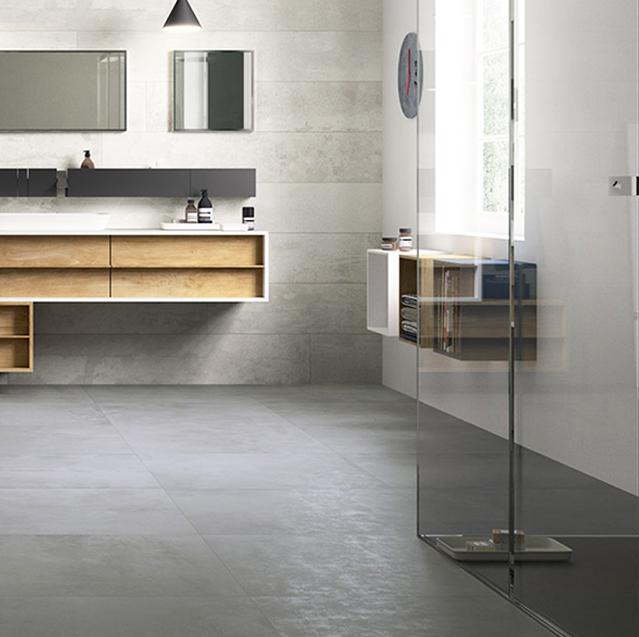 kúpelňa, kúpelka, grey, šedá dlažba, sivá, cement, betón, grigio, sprchový kút, sanita, prowalk, urbanature, wide chalk
