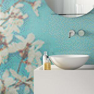 farebná mozaika, mozajka, zrkadlo, umývadlo, sanita, obklad a dlažba, listela, ston, hydre, bisazza
